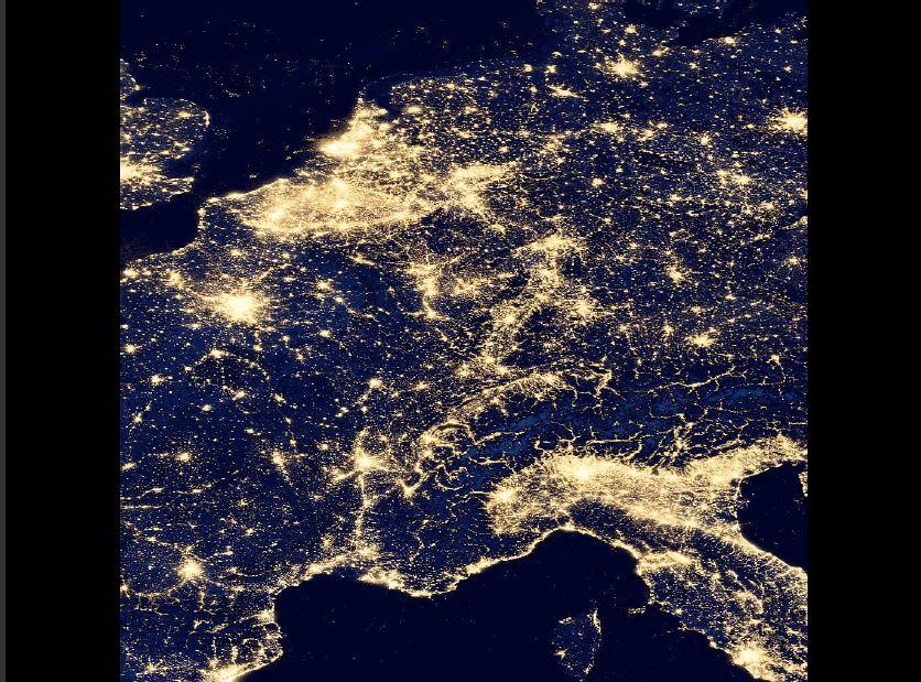 Satellietbeeld van het lichtverbruik in Europa